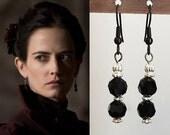 Penny Dreadful Eva Green Black Swarovski Silver Drop Earrings- e731