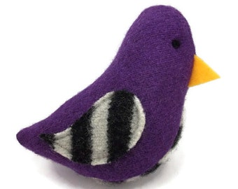 Birds of a Sweater Catnip Cat Toy - Purple with Black and White Stripes