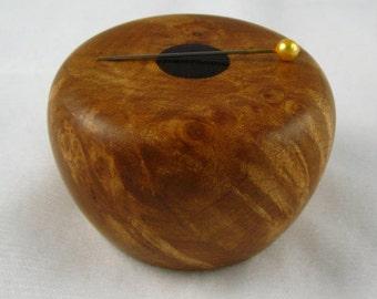 Wooden Magnetic Needle Keeper  - Big Leaf Maple and Padauk Wood, Handmade by Greg Hanson