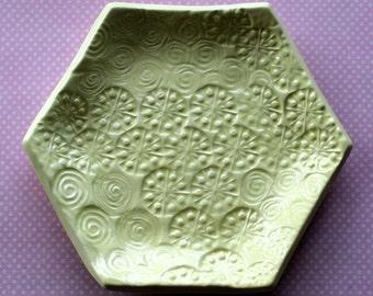 Jewelry Dish - Creamy Lemon Yellow Swirls and Dots Ceramic Jewelry Dish - Hexagon