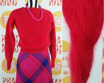 Vintage 70s Red Soft & Fuzzy Angora Sweater - Very 90s Iconic Clueless Liv Tyler! by Rafique