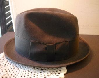 Dark Grey Felted Fur Wool Fedora  - 1950s Vintage Hat  - Homborg- retro cool - hipster style Vintage Hats, Men's Hats Knox quality