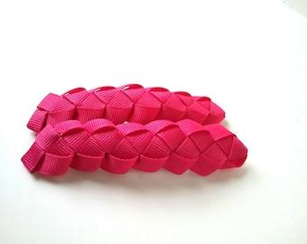 Pretty in Pink Braided  Ribbon  Barrette