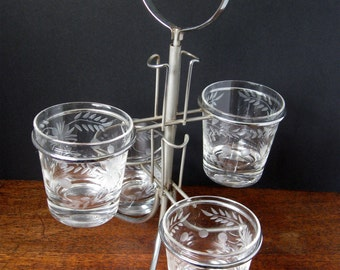 Vintage Set of Four (4) Clear Etched Glasses with Metal Caddy