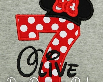 Personalized Minnie Mouse Birthday Applique Shirt, Custom, Colors, Any Age, Free Personalization