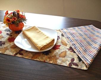 Autumn Leaves Table Runner Reversible Fall Mustard Red Rust Brown Gold Tan Pumpkin Scrolls Plaid