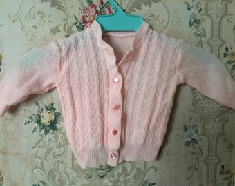 Girls vintage bubblegum pink cardigan sweater 3-6m