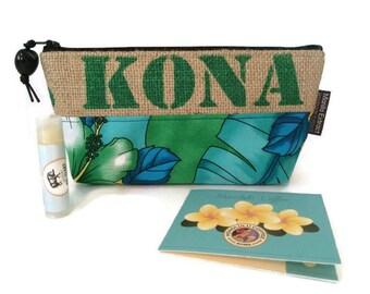 MTO. Custom. Kona and Burlap Pouch. Small Clutch Purse. Repurposed Hawaii, USA Coffee Bag. Handmade in Hawaii.