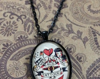 22x30mm vintage tattoo oval pendant necklace