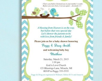 Christian Baby Shower Invitations - Printed and comes with envelopes -COLORS can be changed