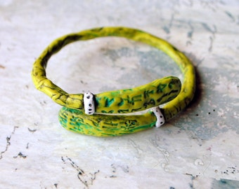 New Life, bangle, bracelet, polymer clay, lime green, turquoise, black and white, rustic, primitive,