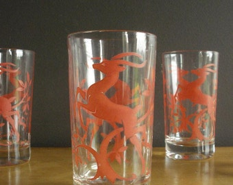 For Your Lemonade - Vintage Set of 4 Coral or Salmon Jumping Deer or Antelope or Gazelle Federal Glass Barware Glasses