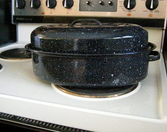 Vintage Two Quart Enamel Roasting Pan with Lid