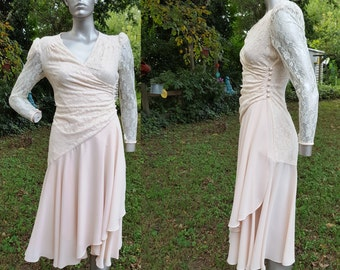 80s Cocktail Dress /Vintage Dress/ 80s Dress /Vintage Cocktail Dress with Lace Overlay and Surplice Bodice Size 6
