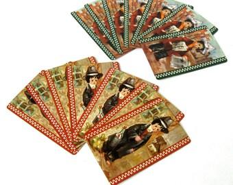 Vintage 14 Card Lot, Vintage Playing Cards, Homeless Boy Cards, Hobo cards, Newspaper Boy Card Lot, Hobo Art Prints, Homeless Boy Art Prints