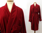 1970s Robe Velour Kimono Style Bathrobe Men's Retro Dark Red Wine Hugh Hefner Loungewear Vintage 70s Hipster Fuzzy Unisex PJs Soft Large M L
