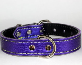 "Italian Leather Purple Dog Collar, Italian Leather Dog Collar, Purple Leather Dog Collar, 1"" Purple Dog Collar With Green Stitching"
