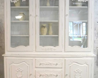 Painted Cottage Chic Shabby White Romantic French China Cabinet CC681