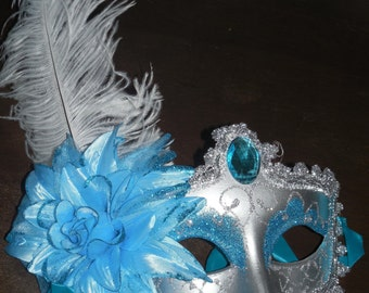 Mask mardi gras feather masks masquerade party favors centerpieces wedding 10 piece sweet 16 quinceanera turquoise