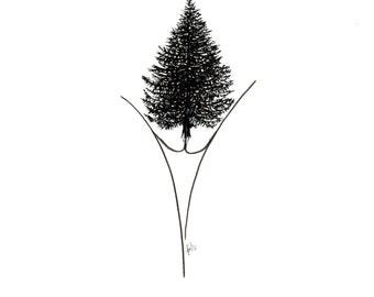 minimalist ink print: Forest Reclaiming Land Pt. I