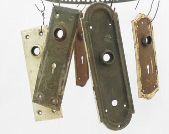 5 salvaged vintage door plates escutcheons Vintage Hardware Repurpose DIY
