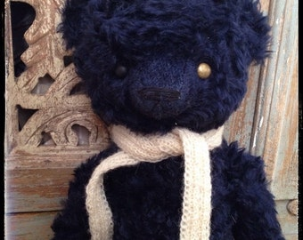 St. Valentine Day SALE 17 inch Artist Handmade Royal Blue Mohair Classic Traditional Teddy Bear Bernard by Sasha Pokrass