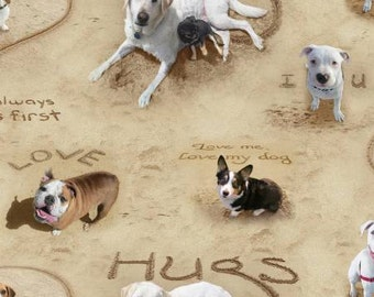 Elizabeths Studio - Sand Scribbles - Puppy Love - Sand - Fabric by the Yard 6304E-SAND