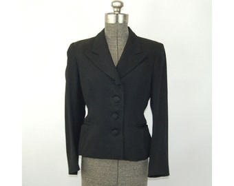 1950s wool jacket black blazer fitted jacket custom tailored Size S/M