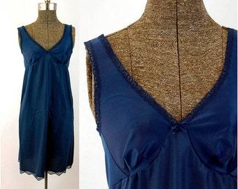 1960s Vanity Fair slip navy blue nylon full slip short slip Size 32 Size Small