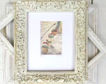 "Cottage Art, Geranium Art, Flower Painting, Geraniums, French Cottage, Garden Art- Giclee Print of Fine Art Watercolor Painting- ""Steps"""