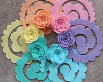 Hippie Chick - Large 3D Rolled Roses - 12 Die Cut Felt Flowers - Unassembled Rosettes