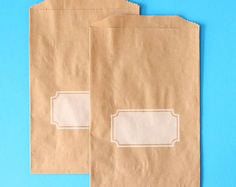 Brown Favor Bags, Favor Bags with White Rectangle Box, Brown Paper Gift Bags, Wedding Favor Bags, Candy Buffet Bags, Baby Shower Favor Bags