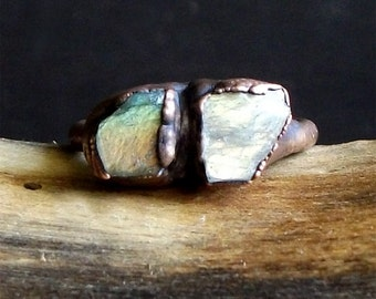 Labradorite Ring Raw Crystal Dual Stone Ring Copper Size 6 Stacking Ring Rough Stone Jewelry Cocktail Ring