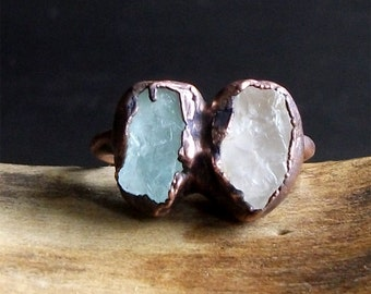 Raw Crystal Aquamarine Morganite Copper Dual Stone Rough Crystal Ring Copper Size 6.5 March Gemstone Birthstone Rough Stone Jewelry