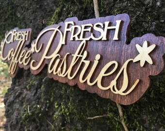 Laser cut Frech Coffee Fresh Pastries Sign