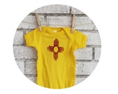 Distressed Zia Symbol Baby Onepiece, Short Sleeved Yellow Baby Bodysuit, New Mexico, Circle Of Life, Four Elements, Red, Native American