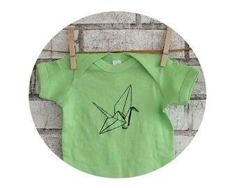 Paper Crane, Baby Bodysuit in Key Lime Green, Cotton Infant Creeper, One Piece Snapsuit, Origami, Baby Shower Gift, Origami Peace Crane Luck