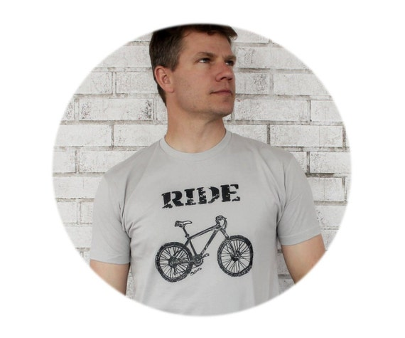 "Mens Mountain Bike ""RIDE"" Tshirt in Grey, Gray,  great mens gift, Cotton Crewneck Screenprinted Shirt, Graphic Tee, Short Sleeved, Bicycle"