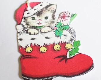 Santa Kitten Tags- Retro Christmas Cat - Red Santa Boot - Gift Tags - Set of 4 - 1950's Holiday Tags - Pet Tags - Retro Cat Tag -  Ornaments
