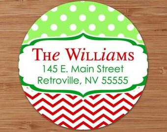Christmas Dots & Chevron - CUSTOM Christmas Address Labels or Stickers