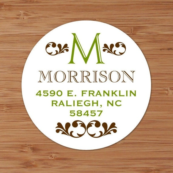 Open Initial Monogram - Custom Personalized Address Labels or Stickers