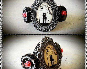 Midnight Kiss Silhouette Cameo Vintage Button Cuff Bracelet