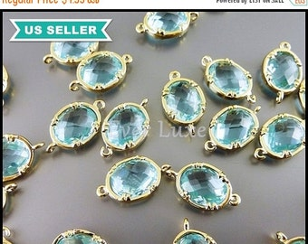 15% SALE 2 aqua blue oval shape faceted glass crystal charm with loops, oval glass pendants / connectors, crystals 5041G-AQ