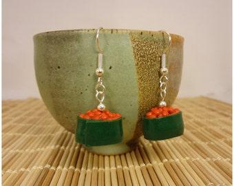 Gunkan maki earrings - polymer clay