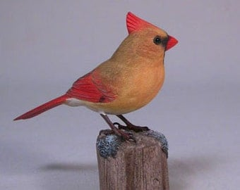 4/3/8 inch Male Cardinal Hand Carved Wooden Bird