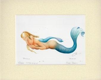 "Mermaid Mother Pamela & Baby Art Signed Robert Kline Matted 8"" x 10"" Print Maternity Gift Nautical Beach Home Cottage Bathroom Nursery Decor"