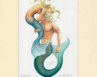 "Mermaid Martha & Merman Neptune Art Signed Robert Kline 5"" x 7"" Matted Sea Maiden Merfolk Couple Print Nautical Beach House Home Decor Gift"