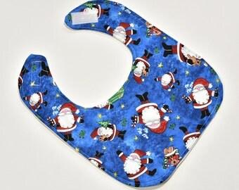 Holiday Baby Bib Santa Clause SALE Cheerful Christmas Season, Reversible, Gender Neutral Baby Gift, Boy or Girl