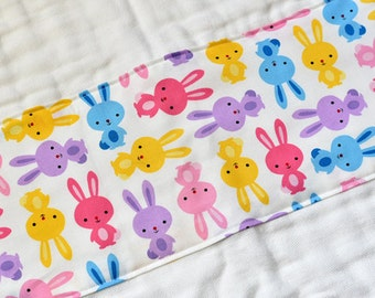 Burp Cloth Baby Gift, Baby Girl Burp Cloth, Burp Rag, Cloth Diaper Colorful Rabbits Infant Burpcloth Gender Neutral New Baby Item