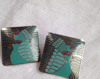 Laurel Burch Moondove Aqua Blue Enamel Earrings